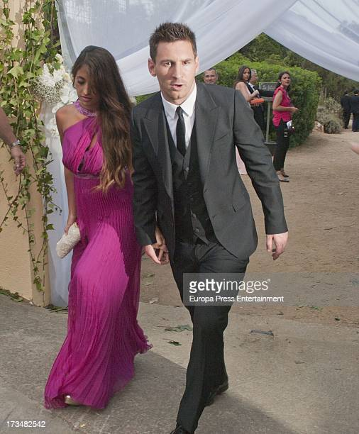 Leo Messi and Antonella Rocuzzo attend the wedding of the Barcelona football player Xavi Hernandez and Nuria Cunillera at Marimurtra Botanical...