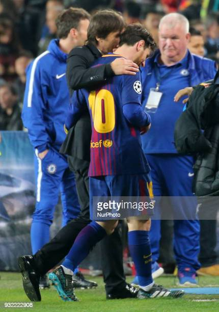 Leo Messi and Antonio Conte at the end of the match between FC Barcelona and Chelsea FC for the secong leg of the 1/8 final of the UEFa Champions...