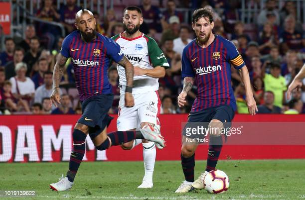 Leo Messi and Arturo Vidal during the match between FC Barcelona and Deportivo Alaves corresponding to the week 1 of que spanish league played at the...
