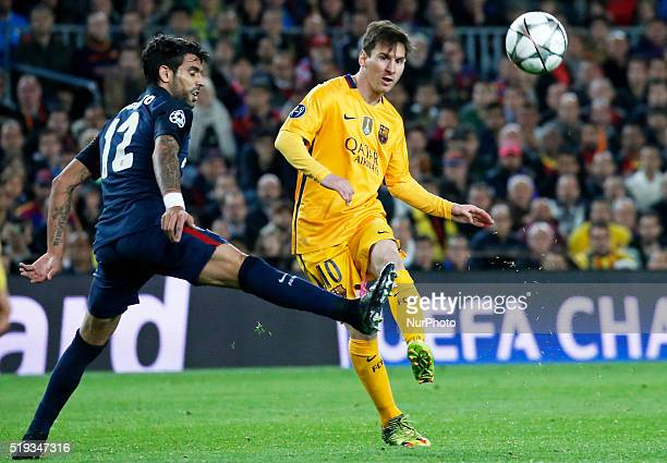 Leo Messi and Augusto Fernandez during the match between FC Barcelona and Atletico de Madrid corrresponding to the first leg of the 1/4 final of the...