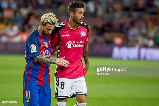 Leo Messi and Camarasa after La Liga match between FC Barcelona v D Alaves in Barcelona on September 10 2016