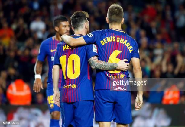 Leo Messi and Denis Suarez celebration during La Liga match between FC Barcelona v SC Eibar in Barcelona on September 19 2017