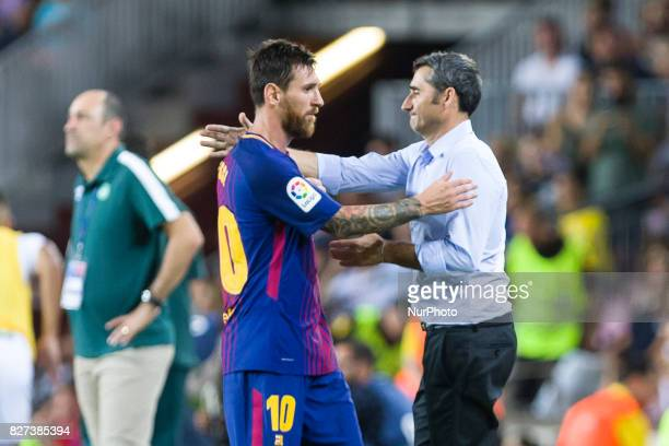 Leo Messi and Ernesto Valverde during the match between FC Barcelona vs Chapecoense for the Joan Gamper trophy played at Camp Nou Stadium on 7th...