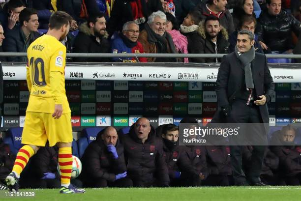 Leo Messi and Ernesto Valverde during the match between RCD Espanyol and FC Barcelona corresponding to the week 19 of the Liga Santander played at...