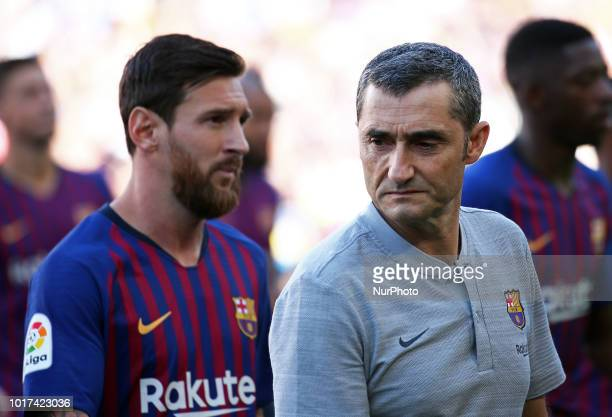 Leo Messi and Ernesto Valverde during the presentation of the team 201819 before the match between FC Barcelona and CA Boca Juniors corresponding to...