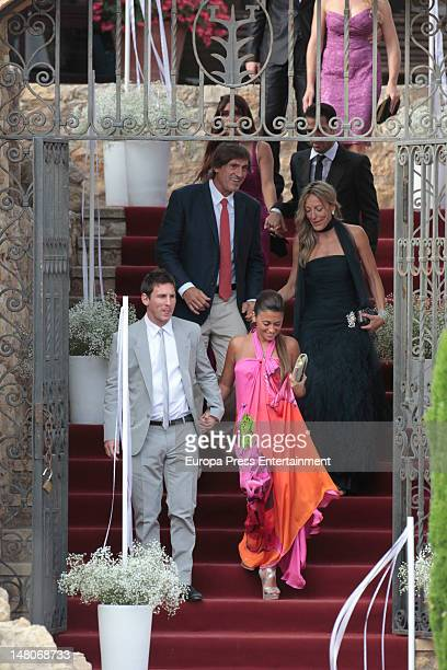 Leo Messi and his girlfriend Antonella attends the wedding of Spanish football player Andres Iniesta and Ana Ortiz at Tamarit Castle on July 8 2012...