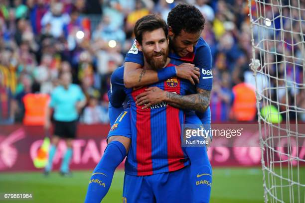 Leo Messi and Neymar Jr celebration during the match between FC Barcelona and Villarreal CF on May 06 2017 Photo Joan Valls/Urbanandsport/Nurphoto