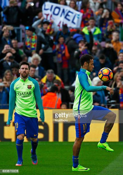 Leo Messi and Neymar Jr during La Liga match between FC Barcelona v Athletic Club in Barcelona on February 04 2017