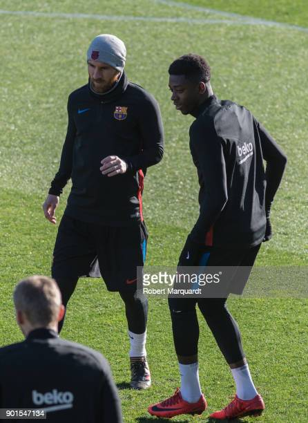 Leo Messi and Ousmane Dembele are seen training during an open public session held at the Barcelona Ministadium on January 5 2018 in Barcelona Spain