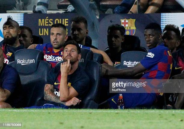 Leo Messi and Ousmane Dembele during the match between FC Barcelona and Arsenal FC corresponding to the Joan Gamper trophy played at the Camp Nou on...
