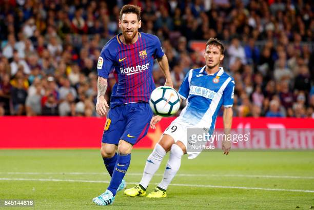 Leo Messi and Pablo Piatti during La Liga match between FC Barcelona v RCD Espanyol in Barcelona on September 09 2017