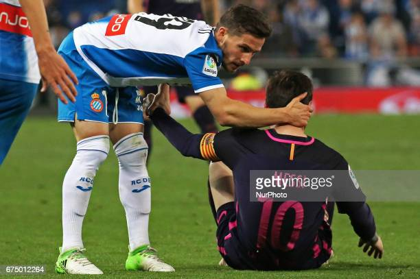 Leo Messi and Pablo Piatti during the match between RCD Espanyol and FC Barcelona on April 29 2017