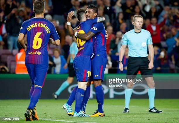 Leo Messi and Paulinho Bezerra celebration during La Liga match between FC Barcelona v SC Eibar in Barcelona on September 19 2017