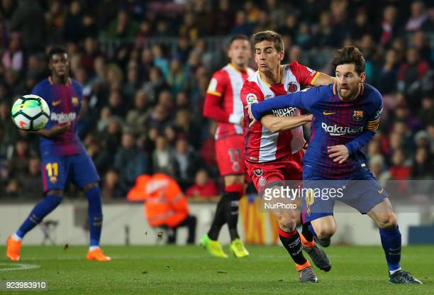 Leo Messi and Pere Pons during the match between FC Barcelona and Girona FC for the round 25 of the Liga Santander played at the Camp Nou Stadium on...