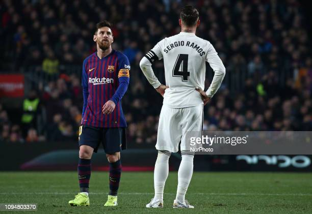 Leo Messi and Sergio Ramos during the match between FC Barcelona and Real Madrid corresponding to the first leg of the 1/2 final of the spanish cup...