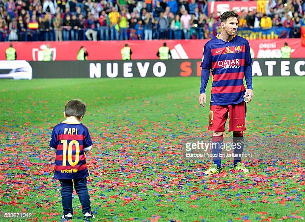Leo Messi and Thiago Messi attend the Copa del Rey match FC Barcelona vs Sevilla FC at Vicente Calderon Stadium on May 22 2016 in Madrid Spain