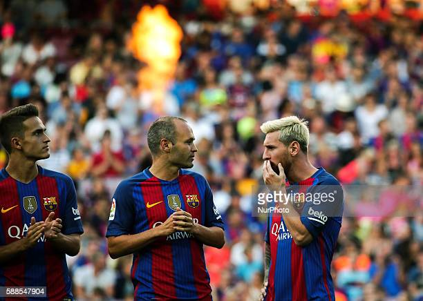 Leo Messi Andres Iniesta and Cristian Tello during the presentation of the Barcelona team 201617 held in the Camp Nou stadium on august 10 2016