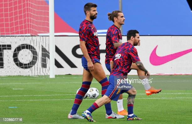 Leo Messi Antoine Griezmann and Gerard Pique during the Joan Gamper Trophy match between FC Barcelona and Elche CF played at the Camp Nou Stadium on...