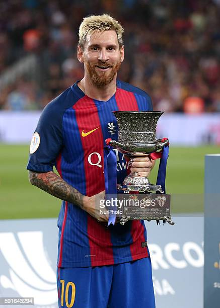 Leo Messi at the end of the match between FC Barcelona and Sevilla CF corresponding to the second match of the spanish Supercup played at the Camp...