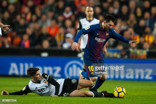 Leo Messi Carlos Soler during the match between Valencia CF vs FC Barcelona week 13 of La Liga at Mestalla Stadium Valencia SPAIN on 26th November...