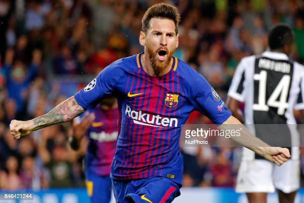 Leo Messi celebration during Champions League match between FC Barcelona v RCD Juventus in Barcelona on September 12 2017