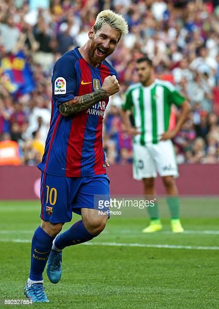 Leo Messi celebration during La Liga match between FC Barcelona v Betis in Barcelona on August 20 2016