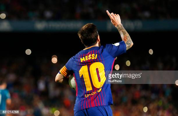Leo Messi celebration during the spanish Super Cup match between FC Barcelona v Real Madrid in Barcelona on August 13 2017