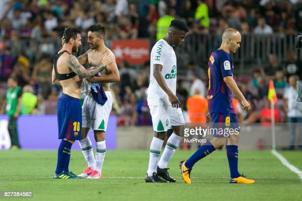 Leo Messi change the shirt wit Alan Ruschel during the match between FC Barcelona vs Chapecoense for the Joan Gamper trophy played at Camp Nou...