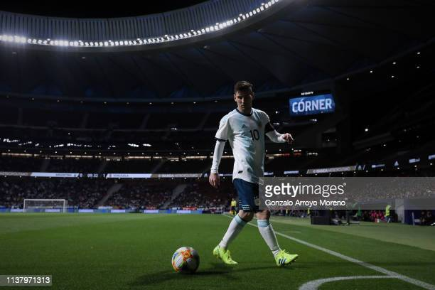 Leo Messi during the International Friendly match between Argentina and Venezuela at Estadio Wanda Metropolitano on March 22, 2019 in Madrid, Spain.