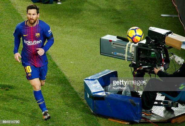 Leo Messi during the La Liga match between FC Barcelona v Real Club Deportivo de La Coruna in Barcelona on December 17 2017