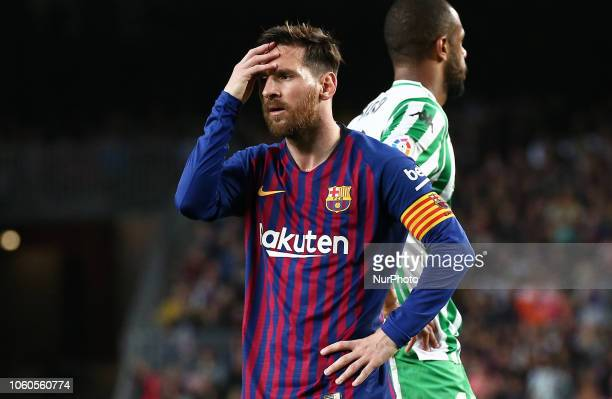 Leo Messi during the match between FC Barcelona and Real Betis Balompie corresponding to the week 12 of the spanish league played at the Camp Nou...