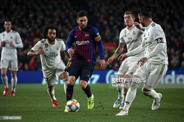 Leo Messi during the match between FC Barcelona and Real Madrid corresponding to the first leg of the 1/2 final of the spanish cup played at the Camp...
