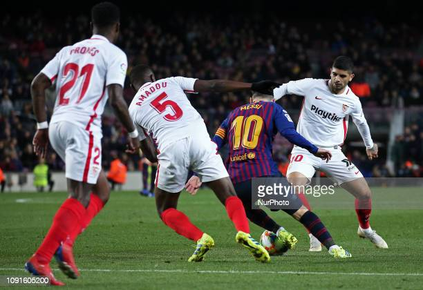 Leo Messi during the match between FC Barcelona and Sevilla FC corresponding to the secong leg of the 1/4 final of the spanish cup played at the Camp...