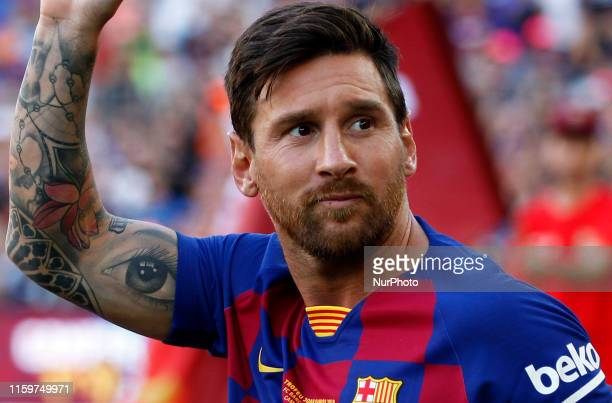 Leo Messi during the presentation of the team 201920 before the match between FC Barcelona and Arsenal FC corresponding to the Joan Gamper trophy...