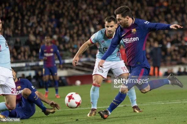 Leo Messi during the spanish Copa del Rey match between FC Barcelona and Celta de Vigo at the Camp Nou Stadium in Barcelona Catalonia Spain on...