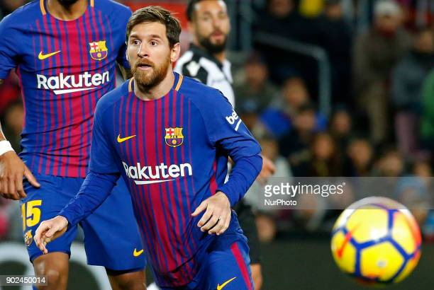 Leo Messi during the Spanish league football match FC Barcelona vs Levante UD at the Camp Nou stadium in Barcelona on January 7 2018