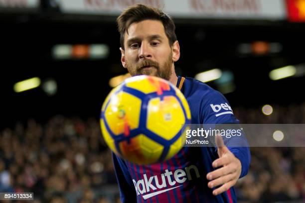 Leo Messi during the spanish league match between FC Barcelona and Deporitvo de La Coruña at the Camp Nou Stadium in Barcelona Catalonia Spain on...