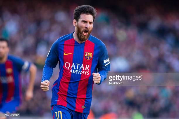 Leo Messi FC Barcelona celebrating his first goal of the night during the Spanish championship Liga football match between FC Barcelona vs Villareal...