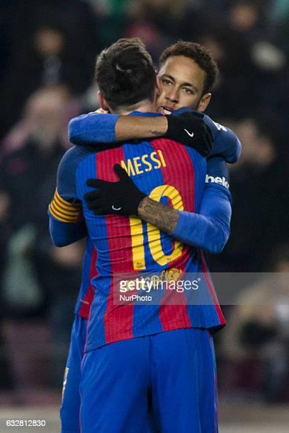 Leo Messi FC Barcelona celebrating his goal with Neymar da Silva of FC Barcelona during the Spanish Copa del Rey match between FC Barcelona vs Real...