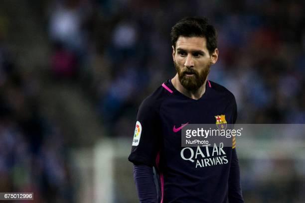 Leo Messi FC Barcelona during the Spanish championship Liga football match between RCD Espanyol vs FC Barcelona at RCD stadium on April 29 2017 in...