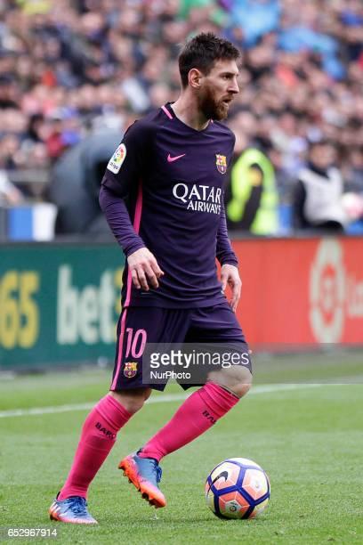 Leo Messi forward of FC Barcelona controls the ball during the La Liga Santander match between Deportivo de La Coruña and FC Barcelona at Riazor...