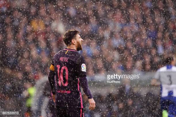 Leo Messi forward of FC Barcelona during the La Liga Santander match between Deportivo de La Coruña and FC Barcelona at Riazor Stadium on March 12...
