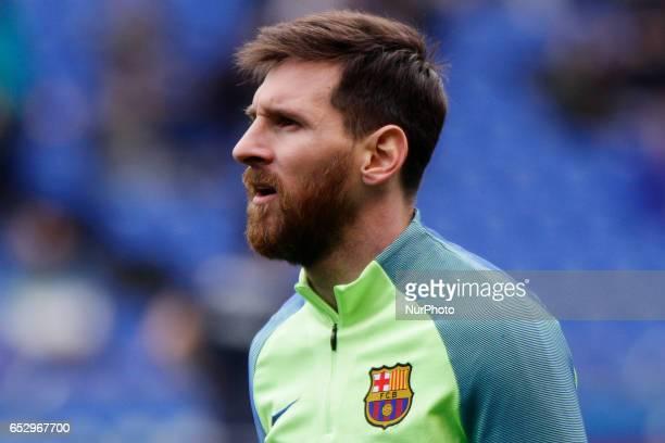 Leo Messi forward of FC Barcelona during the La Liga Santander match between Deportivo de La Coruña and FC Barcelona at Riazor Stadium on March 12...