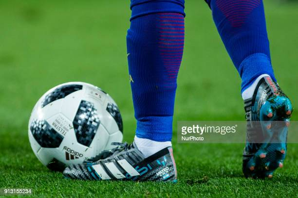 Leo Messi from Argentina boots with a inscription of his son Mateo of FC Barcelona during Copa del Rey match between FC Barcelona v Valencia at Camp...