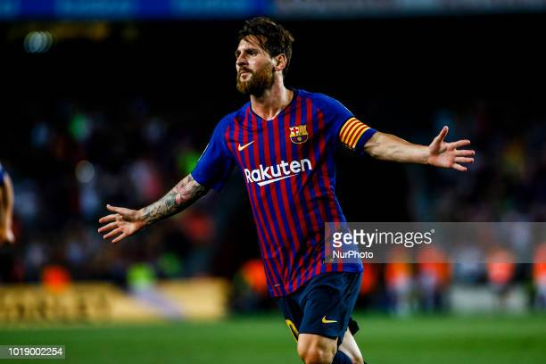 Leo Messi from Argentina celebrating his goal during the La Liga game between FC Barcelona against Deportivo Alaves in Camp Nou Stadium at Barcelona...