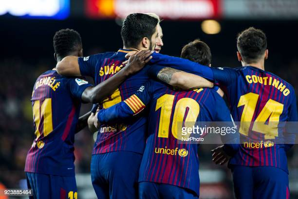 Leo Messi from Argentina celebrating his goal with Luis Suarez from Uruguay of FC Barcelona Phillip Couthino from Brasil of FC Barcelona and Dembele...