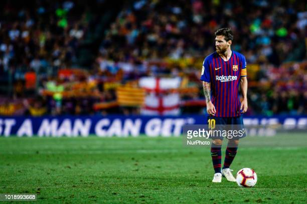 Leo Messi from Argentina during the La Liga game between FC Barcelona against Deportivo Alaves in Camp Nou Stadium at Barcelona on 18 of August of...