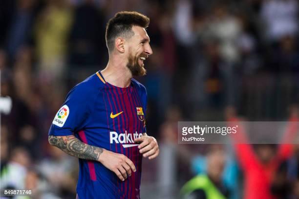 Leo Messi from Argentina of FC Barcelona celebrating his quotpokerquot of goals during the La Liga match between FC Barcelona v Eibar at Camp Nou...