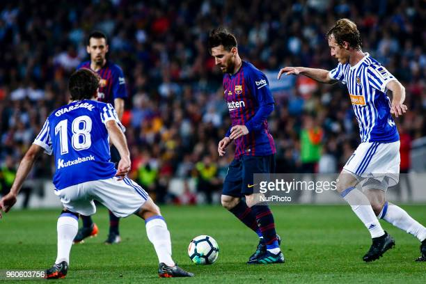 10 Leo Messi from Argentina of FC Barcelona during the La Liga football match between FC Barcelona v Real Sociedad at Camp Nou Stadium in Spain on...