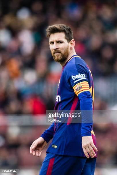 Leo Messi from Argentina of FC Barcelona during the La Liga match between FC Barcelona v Celta de Vigo at Camp Nou Stadium on December 2 2017 in...